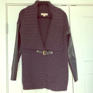 Michael Kors sweater with faux leather trim